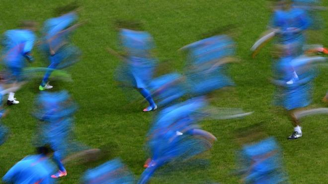 TOPSHOTS Dutch Players Are Seen With A Slow Speed Exposure On May 18, 2012 In Lausanne AFP/Getty Images