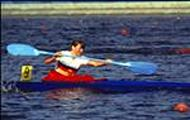 (ARCHIVES) - Photo taken in August 1980 of German kayaker Birgit Fischer winning the gold medal in the kayak competition at the Olympic Games in Moscow