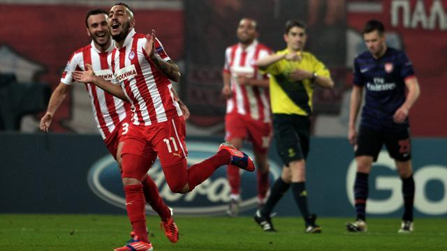 European Football - Mitroglou bags another hat-trick as Olympiakos hit six