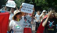 Protesters shout anti-China slogans over territorial disputes in the South China Sea while marching in Hanoi in August 2012. The US has taken a vocal stance on the South China Sea as the Philippines and Vietnam accuse a rising Beijing of intimidation to exert its claims