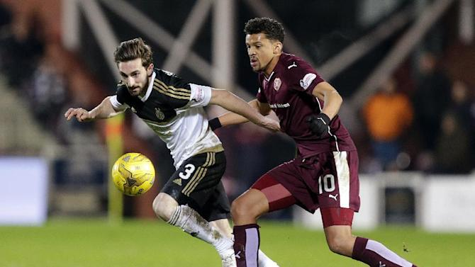 Heart of Midlothian's Osman Sow (R) in action with Aberdeen's Graeme Shinnie