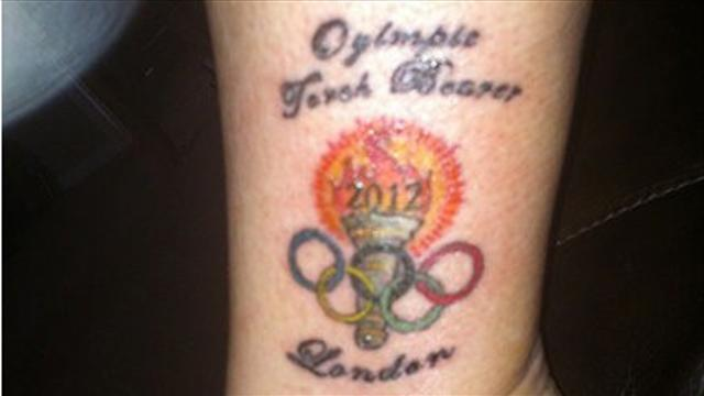 American torchbearer's spelling mistake on tattoo