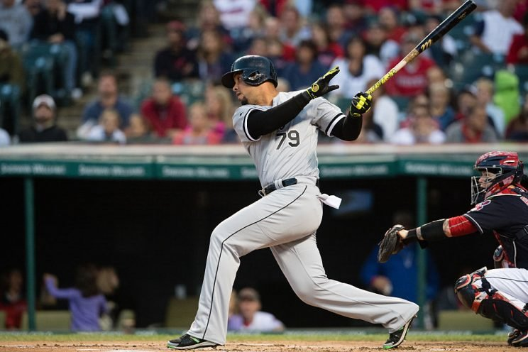 CLEVELAND, OH - SEPTEMBER 24: Jose Abreu #79 of the Chicago White Sox hits an RBI single during the first inning against the Cleveland Indians at Progressive Field on September 24, 2016 in Cleveland, Ohio. (Photo by Jason Miller/Getty Images)