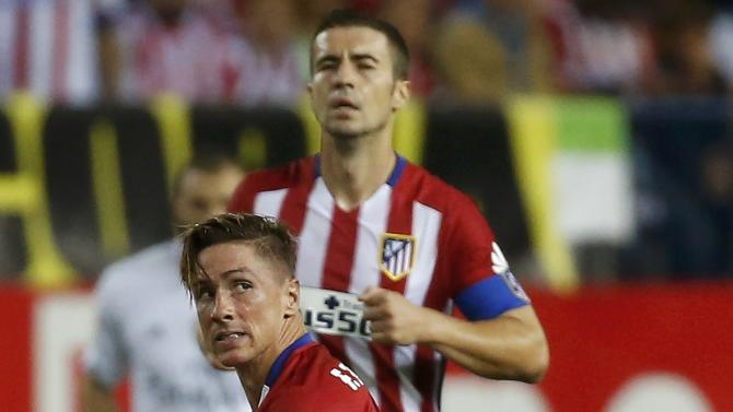 Atletico Madrid's Fernando Torres reacts during their Spanish first division derby soccer match in Madrid