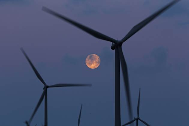 Moon Rises Over Whitelee Wind Farm