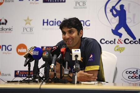 Pakistan's captain Misbah-ul-Haq speaks at a news conference at the end of their cricket test series with South Africa in Dubai October 26, 2013. REUTERS/Nikhil Monteiro
