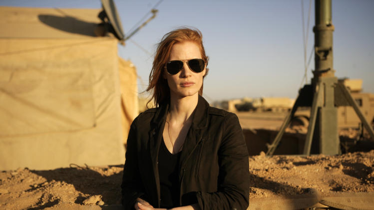 "FILE - This undated publicity film image provided by Columbia Pictures Industries, Inc. shows Jessica Chastain in""Zero Dark Thirty.""  (AP Photo/Columbia Pictures Industries, Inc., Jonathan Olley, File)"