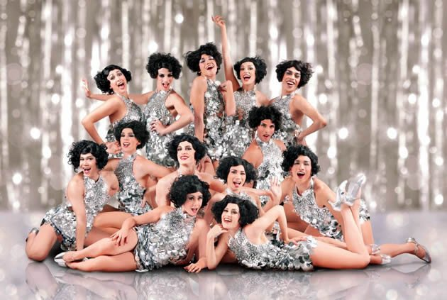 The ensemble of Cagelles, who provide backup and great entertainment in La Cage aux Folles. (W!LD RICE photo)