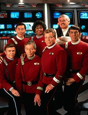 Walter Koenig as Chekov, George Takei as Sulu, DeForest Kelley as McCoy, Nichelle Nichols as Uhura, William Shatner as Kirk, James Doohan as Scotty and Leonard Nimoy as Spock in Paramount's Star Trek VI