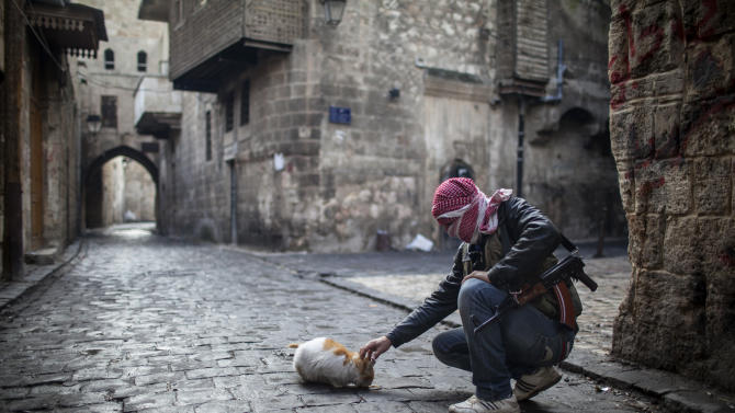A Free Syrian Army fighter feeds a cat bread in the old city of Aleppo, Syria, Sunday, Jan. 6, 2013. The revolution against Syrian President Bashar Assad that began in March 2011, started with peaceful protests but morphed into a civil war that has killed more than 60,000 people, according to a recent United Nations recent estimate. (AP Photo/Andoni Lubaki)