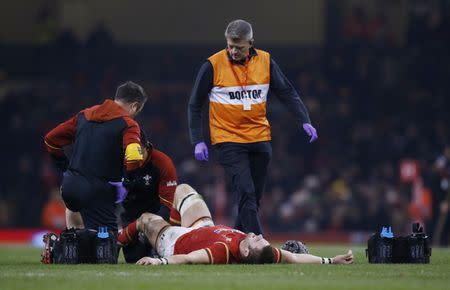 Wales' Dan Lydiate down injured