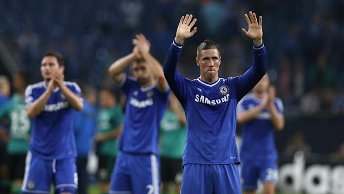 Chelsea's Fernando Torres waves to the supporters at the end of the Champions League group E soccer match between FC Schalke 04 and Chelsea FC in Gelsenkirchen, Germany, Tuesday, Oct. 22, 2013. Torres scored the opening goal. Torres scored two goals in Chelsea's 3-0 win