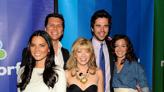 """The cast of """"[ytvshow id=Perfect Couples"""" (L-R) Olivia Munn, Hayes MacArthur, Mary Elizabeth Ellis, David Walton, and Christine Woods attend the 2010 NBC Upfront presentation at The Hilton Hotel on May 17, 2010 in New York City."""
