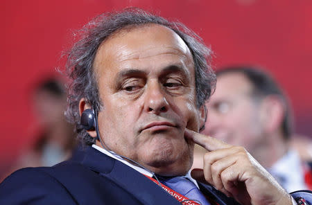 UEFA President Platini looks on before the preliminary draw for the 2018 FIFA World Cup at Konstantin Palace in St. Petersburg