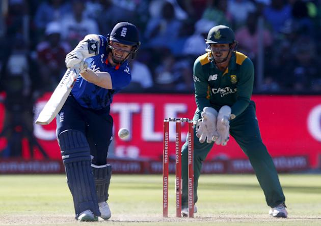 England's Eoin Morgan plays a shot during the second One Day International cricket match against South Africa in Port Elizabeth