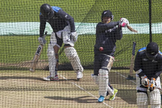 New Zealand's captain Brendon McCullum, second right, plays a shot during nets, the day before the second Test match between England and New Zealand at Headingley cricket ground in Leeds, England,