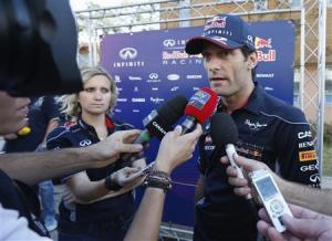 Red Bull Formula One driver Webber speaks to media at Korea International Circuit before Korea F1 Grand Prix in Yeongam