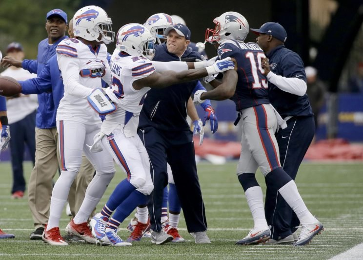The Patriots and Bills had a pregame skirmish last time they played (AP)