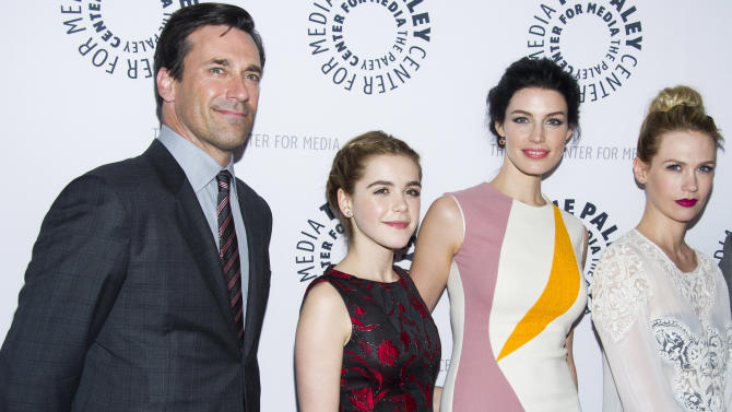 "From left, Jon Hamm, Kiernan Shipka, Jessica Pare and January Jones from the cast of ""Man Men,"" attend ""Mad-ness Returns to the Paley Center"" at The Paley Center for Media on Tuesday, April 23, 2013, in New York. (Photo by Charles Sykes/Invision/AP)"