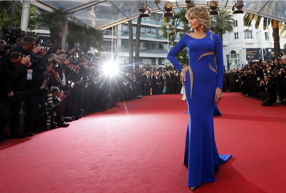 Actress Jane Fonda poses on the red carpet as she arrives for the screening of the film