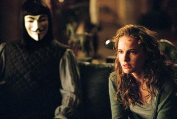 Hugo Weaving as V and Natalie Portman as Evey in Warner Bros. Pictures' V for Vendetta