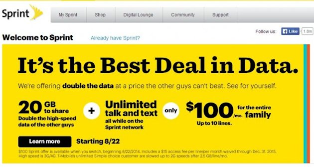 Sprint 39 S Cheapest Ever Family Plan Takes On T Mobile