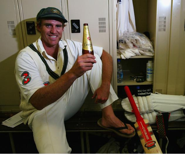Matthew Hayden of Australia relaxes in the rooms after scoring 380 to break Brian Lara of The West Indies world record of 375