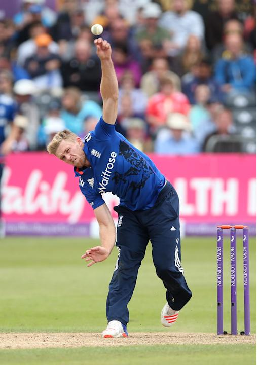 England's David Willey in action