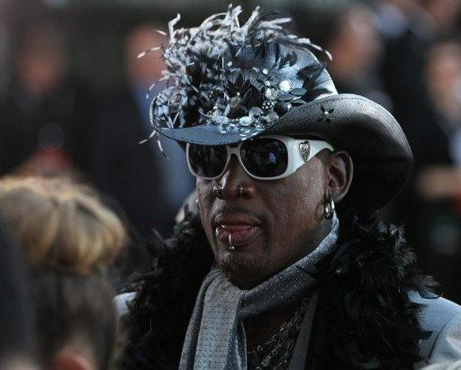 Dennis Rodman arrives for his enshrinement ceremony at the Basketball Hall of Fame in Springfield, on August 12, 2011