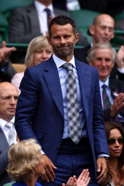 Football player Ryan Giggs attends the Ladies' Singles third round match Serena Williams of the USA and Jie Zheng of China on day six of the Wimbledon Lawn Tennis Championships at the All England Lawn