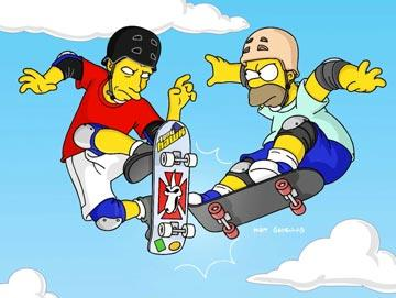 Homer (voiced by Dan Castellaneta) faces off with guest star Tony Hawk in the episode 'Barting Over.' Fox's The Simpsons