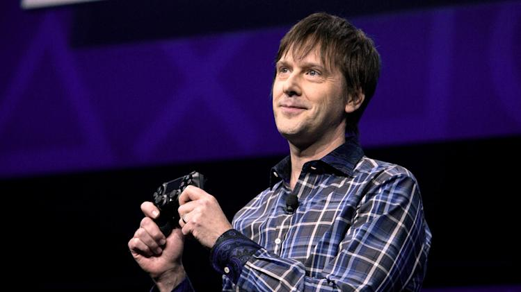 FILE -  In a Feb. 20, 2013, file photo Mark Cerny, lead system architect for the Sony Playstation 4 speaks during an event to announce the new video game console  in New York.   Sony Corp. plans to go into deeper detail at Electronic Entertainment Expo in June in Los Angeles about the system.   (AP Photo/Frank Franklin II, file)