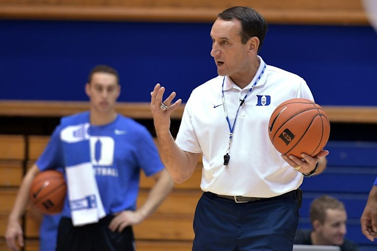 Mike Krzyzewski's Blue Devils look like the favorites to win the national title this season. (Getty)