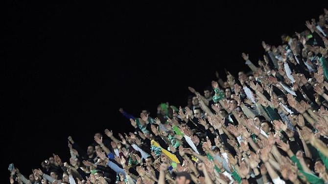 Saint-Etienne' supporters cheer during their French League One soccer match against Paris Saint Germain, in Saint-Etienne, central France, Sunday, Oct. 27, 2013