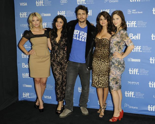 Ashley Benson, Vanessa Hudgens, James Franco, Selena Gomez, and Rachel Korine  'Spring Breakers' press conference photo call during the 2012 Toronto International Film Festival at TIFF BELL Lightbox.
