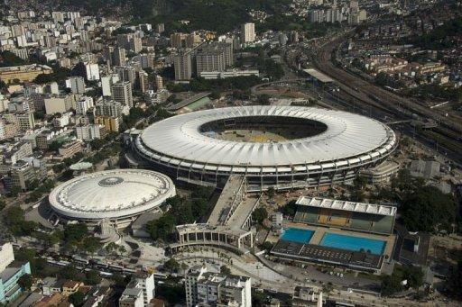Aerial view of the Maracana stadium with its roof already finished, in Rio de Janeiro, Brazil on April 11, 2013