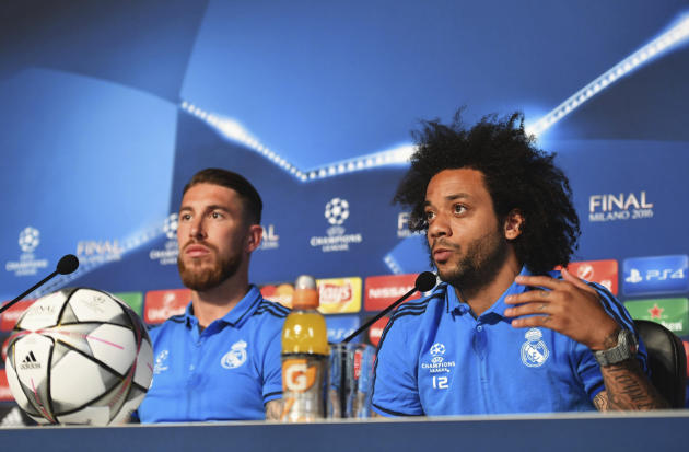 Real Madrid's Sergio Ramos and Marcelo