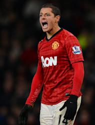 Manchester United's Mexican forward Javier Hernandez reacts during the English Premier League football match between Manchester United and Newcastle United at Old Trafford in Manchester, north-west England on December 26, 2012. Alex Ferguson has warned Manchester United's title rivals that Hernandez will play a significant role in the battle for the Premier League