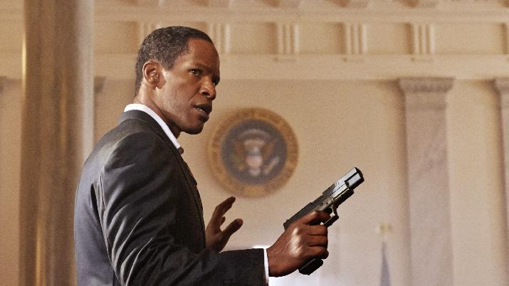 "This film publicity image released by Columbia Pictures shows Jamie Foxx in a scene from ""White House Down."" (AP Photo/Sony Columbia Pictures, Reiner Bajo)"