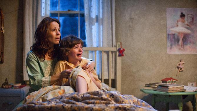 """In this publicity image released by Warner Bros. Pictures, Lili Taylor portrays Carolyn Perron, left, and Joey King portrays Christine in a scene from """"The Conjuring."""" The films opens nationwide on Friday, July 19.(AP Photo/New Line Cinema/Warner Bros. Pictures, Michael Tackett)"""
