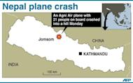 Map of Nepal locating the area where an aircraft carrying 21 people crashed into a hill Monday. Fifteen passengers died on Monday when the plane carrying Indian pilgrims crashed near a treacherous high-altitude airport