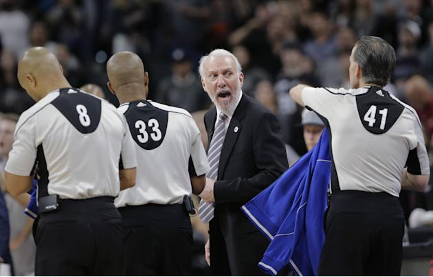 San Antonio Spurs head coach Gregg Popovich argues with officials after the team's loss to the Oklahoma City Thunder in Game 2 of a second-round NBA basketball playoff series, Monday, May 2, 2016,