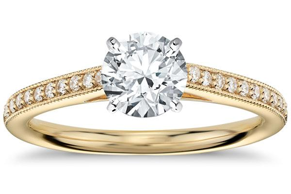 Heirloom Petite Cathedral Pavé Diamond Engagement Ring in 18k Yellow Gold