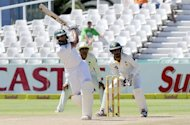 South African cricketer Hashim Amla plays a shot on day four of the second Test match against Pakistan in Cape Town on February 17, 2013. South Africa beat Pakistan by four wickets