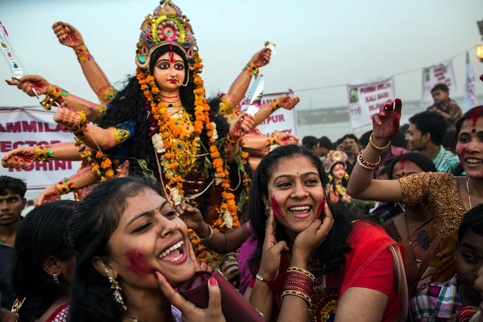 Hindu Devotees Celebrate The Last Day of Durga Puja