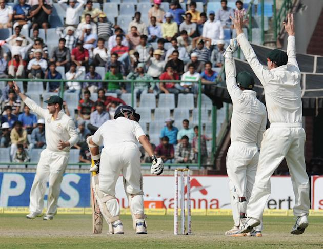Sachin Tendulkar of India is trapped LBW by Nathan Lyon during the 4th test match of the Border-Gavaskar Trophy, at the Feroz Shah Kotla Stadium in Delhi on March 23, 2013. P D Photo by P S Kanwar