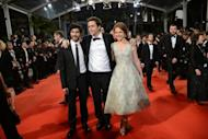 """French actor Tahar Rahim (L), French actress Emilie Dequenne and Belgian director Joachim Lafosse arrive for the screening of """"The Angel's Share"""" presented in competion at the 65th Cannes film festival"""