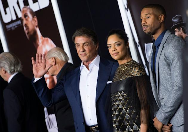 "(L-R) Actor/producer Sylvester Stallone and actors Tessa Thompson and Michael B. Jordan attend the Los Angeles World Premiere of ""Creed"", in Westwood, California, on November 19, 2015"