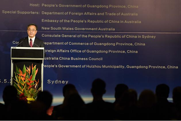 Hu Chunhua, member of the Political Bureau of the Communist Party of China (CPC) Central Committee and party secretary of the CPC Guandong Provincial Committee speaks at the Australia-China (Guangdong