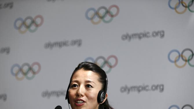 Yang Yang addresses the media during a news conference after the briefing for IOC members by the 2022 Winter Olympic Games candidate city of Beijing in Lausanne